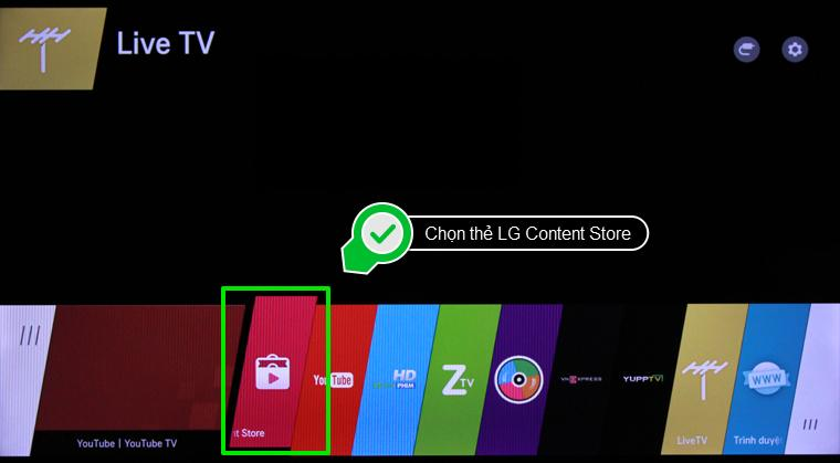 Chọn thẻ LG Content Store