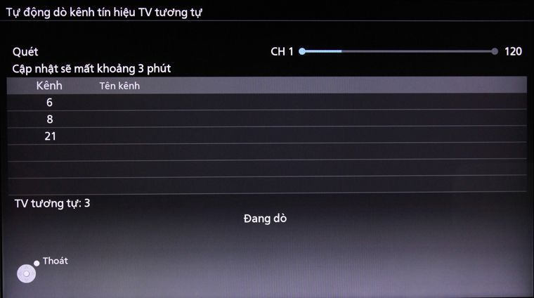 Tivi đang tiến hành dò kênh