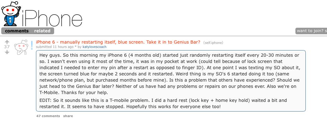 Người dùng iPhone của T-Mobile bị lỗi này đã lên Reddit để thông báo