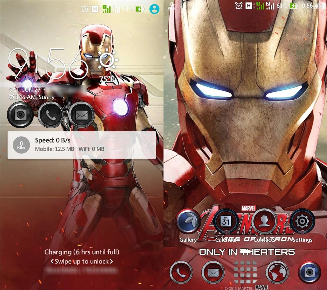 Ảnh chụp màn hình trên Asus Zenfone 2 sau khi áp dụng Theme Iron Man