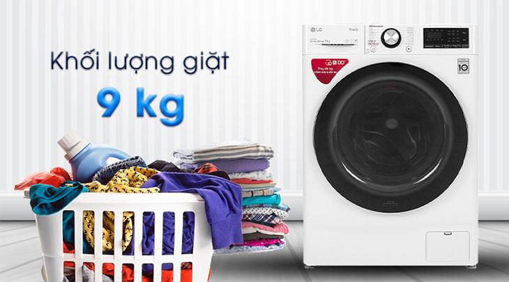 Khối lượng giặt ghi trên máy giặt được tính cho quần áo khô