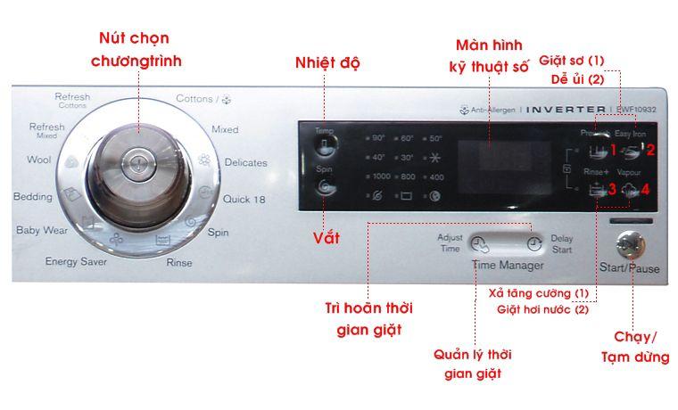 Bảng điều khiển của máy giặt