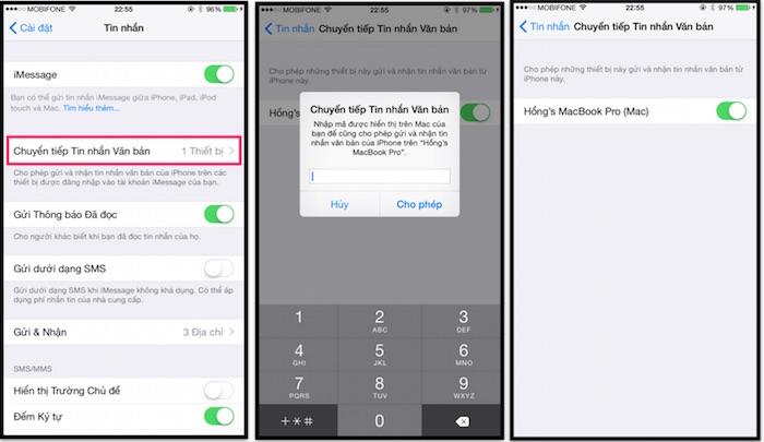 Vào Cài đặt > Tin nhắn > Chuyển tiếp Tin nhắn văn bản > Bật thiết bị sẵn có  (khi dùng chung iCloud) > Nhập mã kích hoạt được gởi đến máy tính.