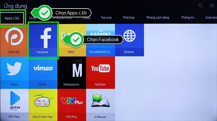 Chọn ứng dụng Facbook trong mục Apps c.tôi
