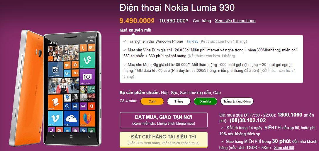 Lumia 930 tiếp tục được giảm giá mạnh mẽ