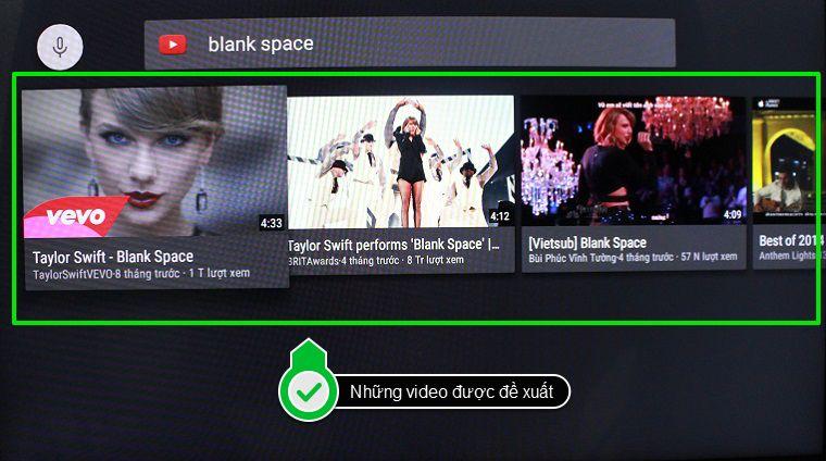 Những video được đề xuất dựa theo từ khóa tìm kiếm sẽ hiện ra