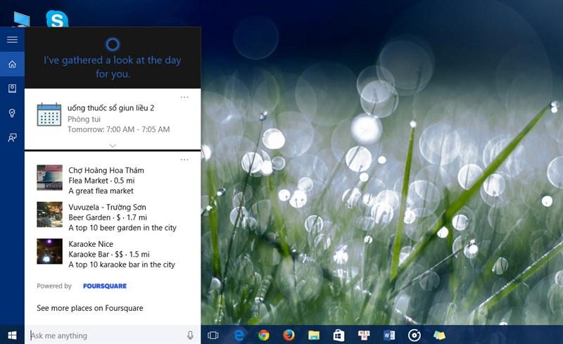 Đối với trợ lý ảo Cortana và các cài đặt hệ thống