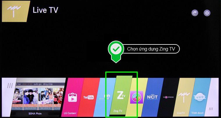 Chọn ứng dụng Zing TV