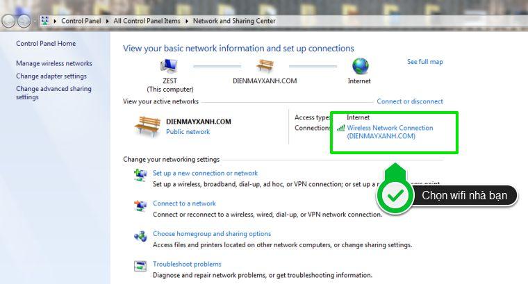 Mở cửa sổ Network and Sharing Center, sau đó chọn vào mạng đã kết nối