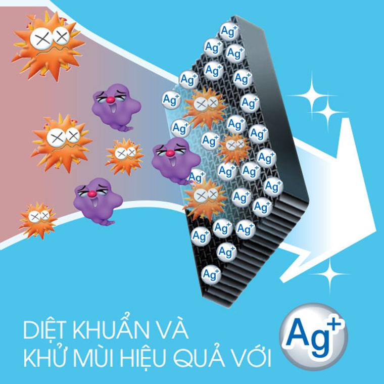 Diệt khuẩn và khử mùi hiệu quả hơn với Ag+