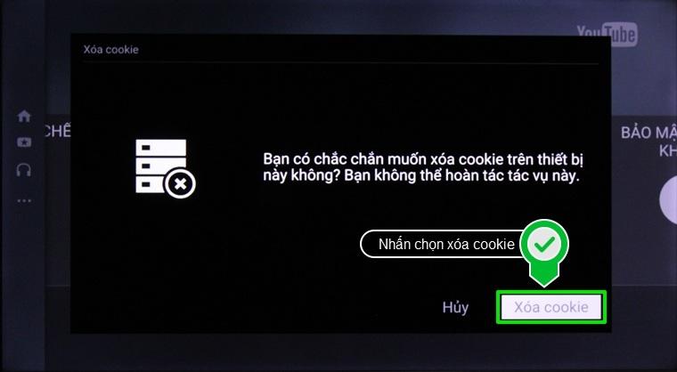 Nhấn chọn xóa cookie để xác nhận