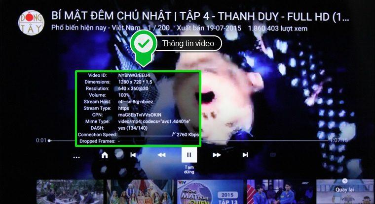 Thông tin video được hiển thị
