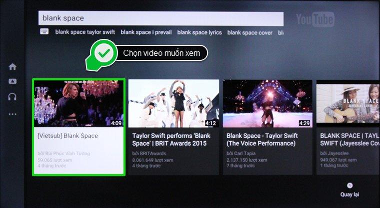 Những video được tìm kiếm dựa theo từ khóa và chọn video bạn muốn xem