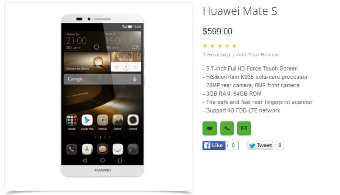 Huawei Mate S được chào bán