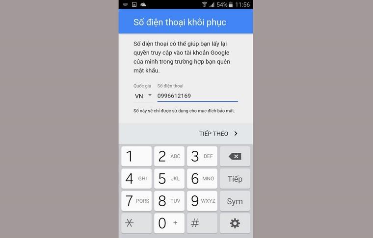 Bước 7: Bạn nhập vào một số điện thoại mình đang sử dụng