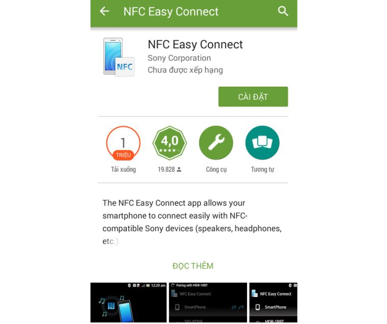 Giao diện tải về ứng dụng NFC Easy Connect