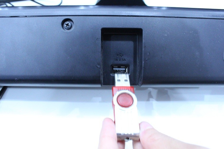 Cắm USB vào mặt sau của loa