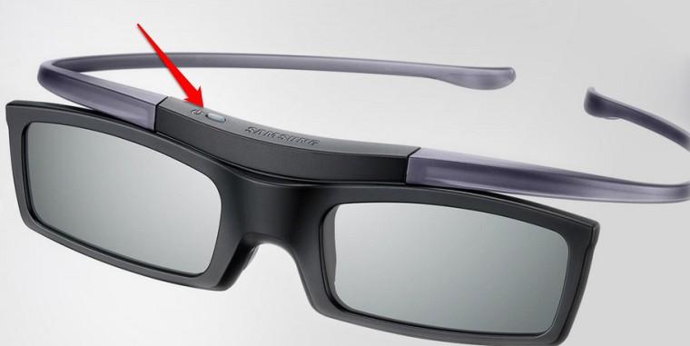 Nút nguồn trên một model kính 3D Samsung