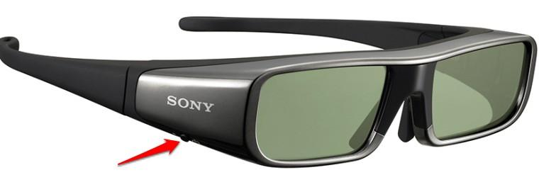 Nút nguồn trên một model kính 3D Sony