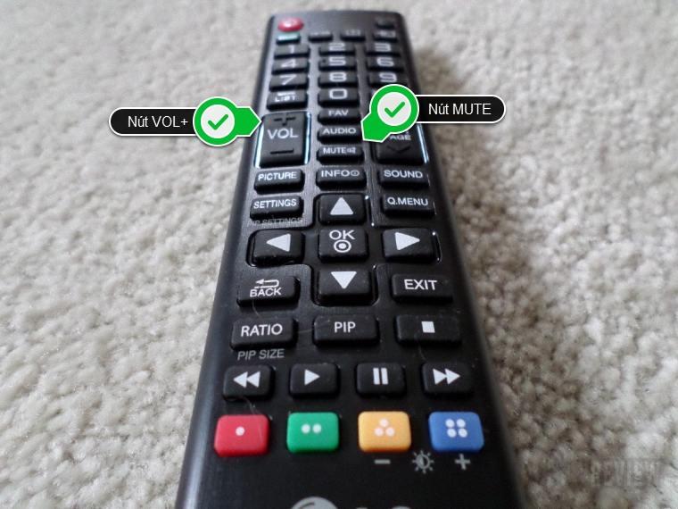 Nút MUTE và VOL+ trên remote