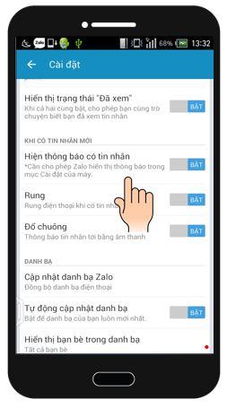 Vào mục Cài đặt > Khi có tin nhắn mới > chuyển Hiện thông báo khi có tin  nhắn sang Bật, có thể Bật thêm chế độ Rung hay Đổ chuông tùy ...