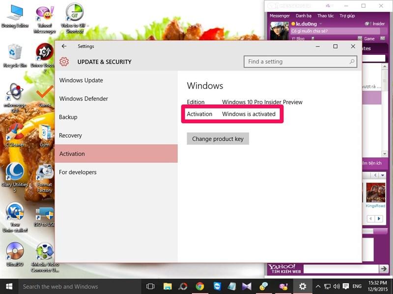 Windows 10 đã được kích hoạt (Activation)