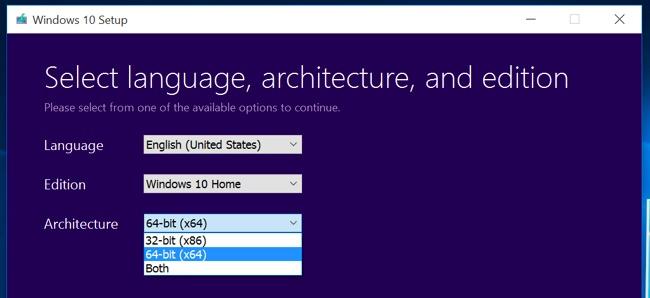 Chọn cài đặt phiên bản Windows 10 64-bit