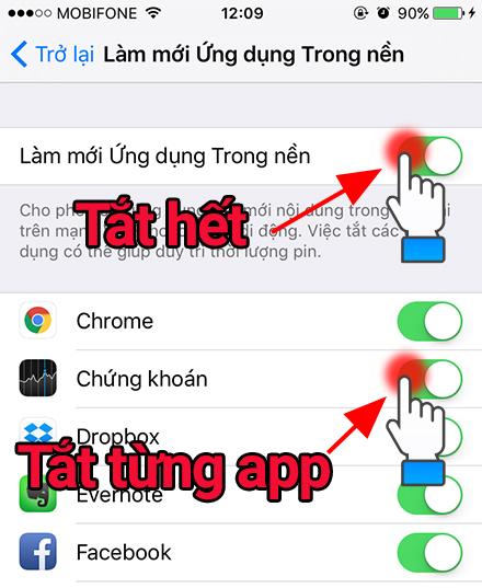 Tắt hết hoặc từng app
