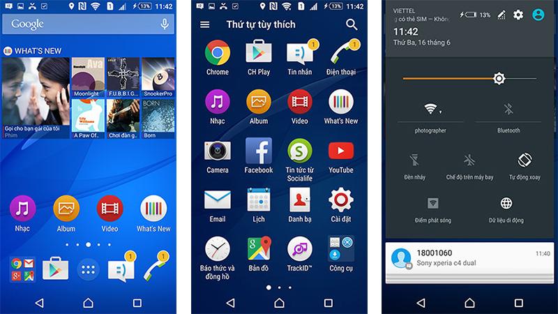 Giao diện Sony Xperia C4 và Sony Xperia C5