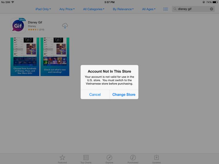 Một ví dụ về ứng dụng trên App Store không hỗ trợ thị trường Việt Nam