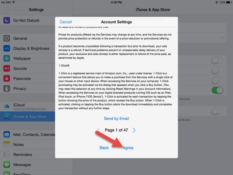 Bạn nhấn vào nút Agree ở cửa sổ tiếp theo để đồng ý với các điều khoản sử dụng, chính sách quyền riêng tư của Apple.