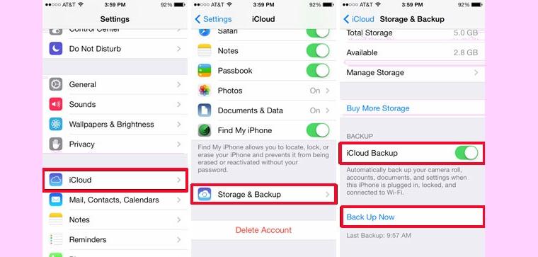 Chọn Settings > iCloud > Storage & Backup.