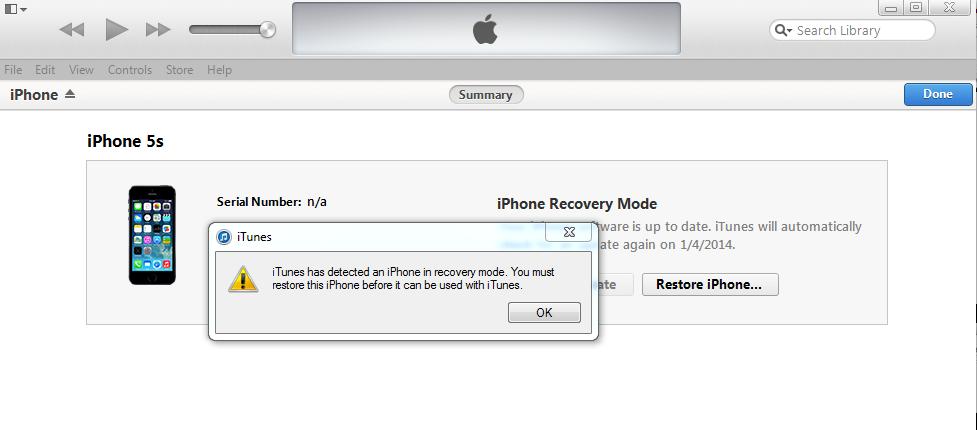 Bạn click OK để khôi phục thiết bị