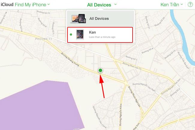 chọn vào iPhone/iPad muốn tìm