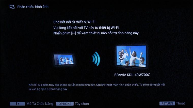 Tivi phải đang ở trạng thái chờ kết nối