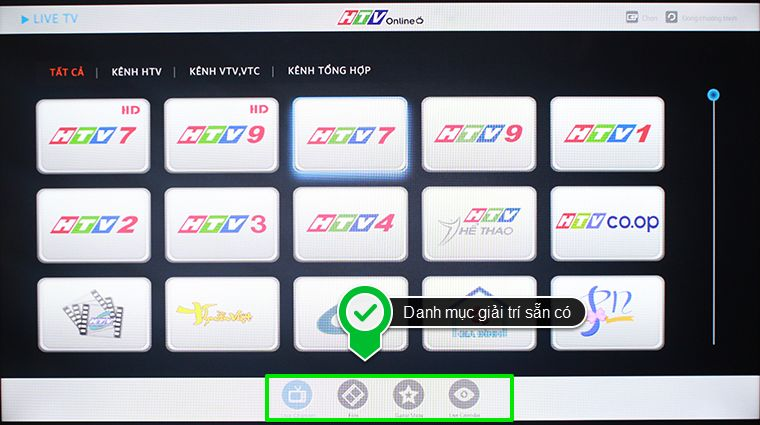 Giao diện ứng dụng HTV Online