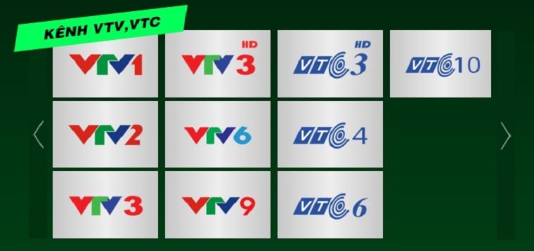 Được trang bị luôn bộ kênh VTV, VTC