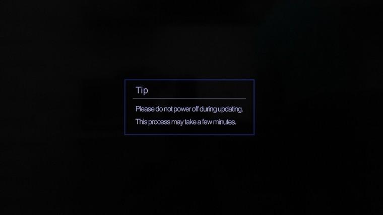 Tivi hiển thị thông báo về việc cập nhật phần mềm