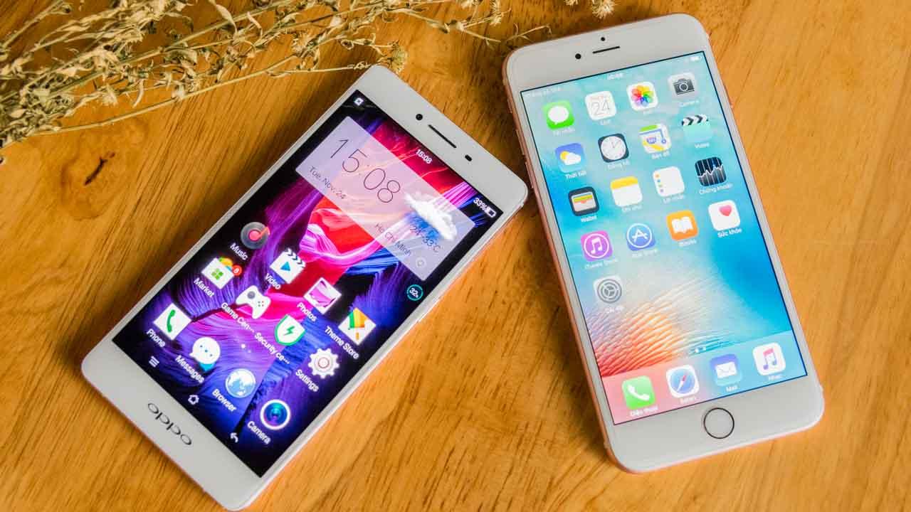 Oppo R7s Và Iphone 6s Plus Màu Vàng Hồng Cùng Nhau Khoe Dáng