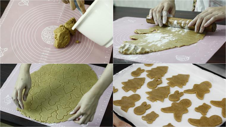 Lấy bột khỏi tủ lạnh, phủ bột áo rồi cán mỏng miếng bột cho đến khi có độ dày khoảng 1mm. Bột mỏng thì bánh sẽ đẹp hơn, nhưng không nên để mỏng quá, lúc lấy ra dễ bị nát, bể. Bột hơi dày mới dễ cắt bột tạo hình bánh.