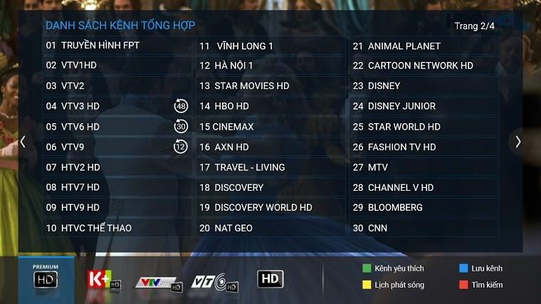 Các kênh của FPT Play HD khá đa dạng