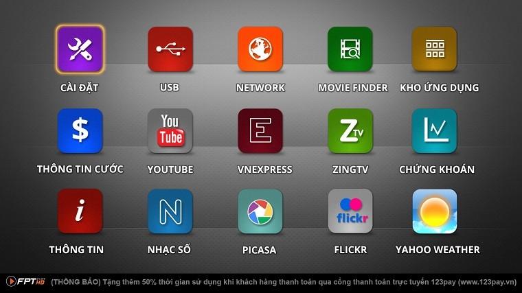 Kho ứng dụng trực tuyến trên tivi