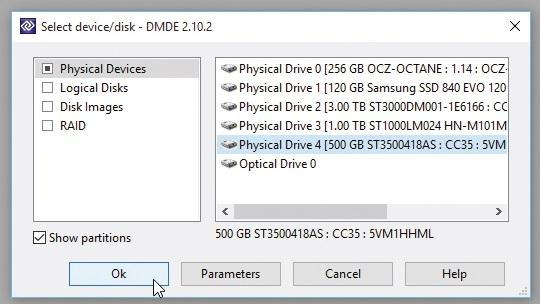 Chọn ổ đĩa bạn cần khôi phục dữ liệu