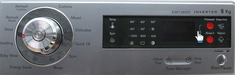 Nhấn giữ nút Prewash và Rinse