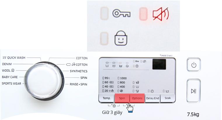 Nhấn cùng lúc nút Spin và Options mở chế độ tắt tiếng
