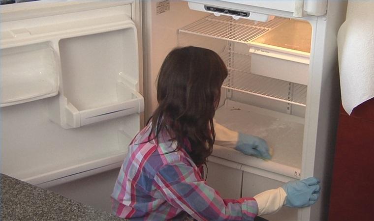 Lau chùi những phần không thể tháo rời và nội thất bên trong tủ.