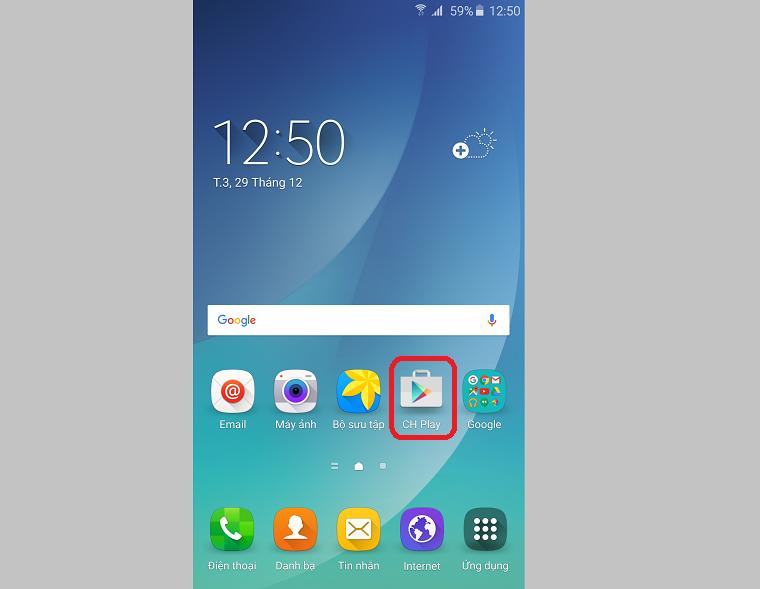 Mở Google Play trên máy