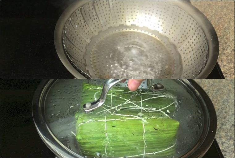 Xếp lá chuối sạch ra bàn, đặt giò sống lên lá chuối, sau đó gói cho chặt như trong hình.