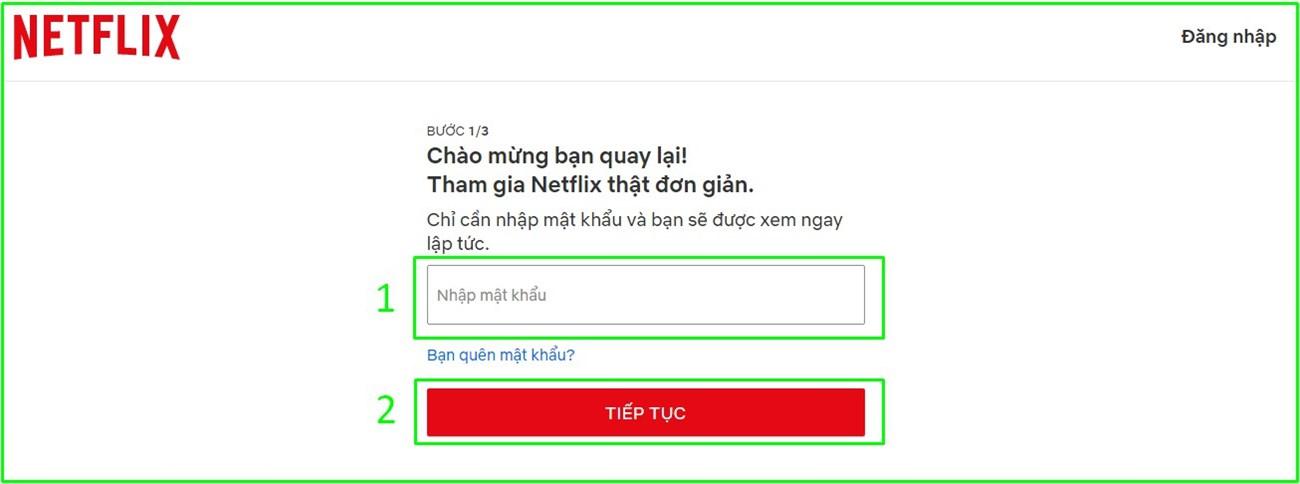 Nhập mật khẩu cho tài khoản Netflix