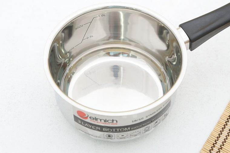 Quánh Inox đáy từ Elmich 14cm-SM6989 sáng bóng, dễ vệ sinh